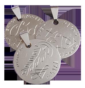 Handgravierte Amulette, 925 Sterlingsilber, ø 38 mm